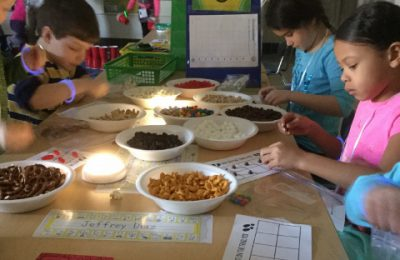 Students in U-6 investigate with snacks as evidence.