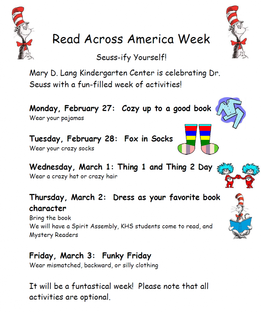 Schedule of events for Dr. Seuss Week
