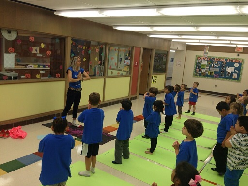 Students participate in yoga.