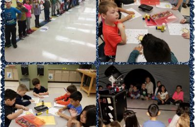 Students moved through three different space themed stations to learn about the planets and stars!
