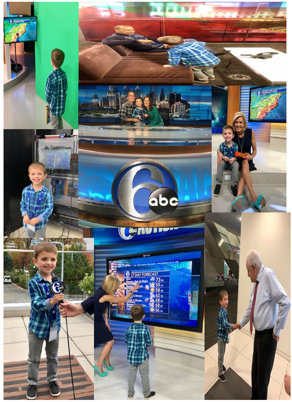 Student visits Action News studios with his family.