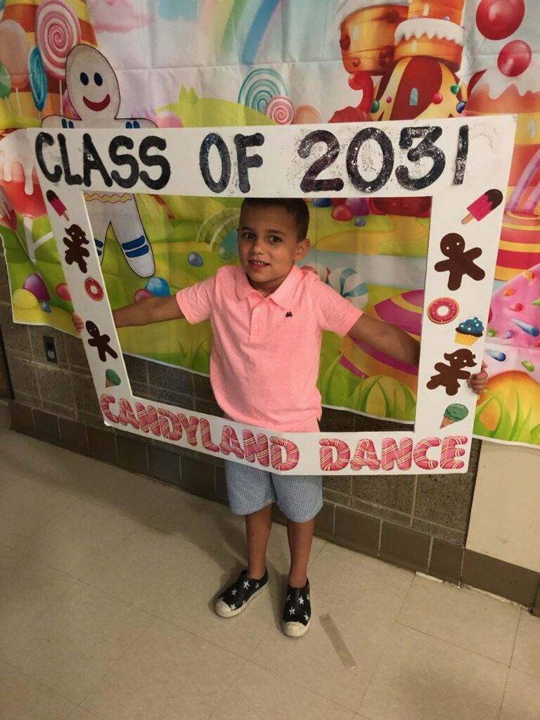Aidan making memories for the Class of 2031 at the Candyland Dance.