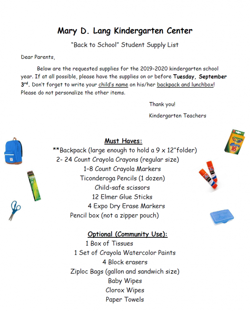 Supply Lists are Available - Mary D  Lang Kindergarten Center